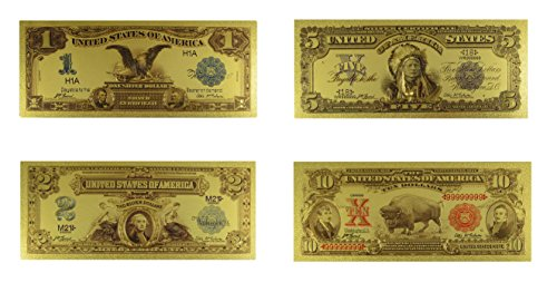 Gold 1900s American 4 pcs Set Currency with Semi-Rigid Protectors by Lane - Indian 2017 Serial