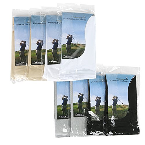 The Elixir Sports Elixir Arm Sleeves 8 pairs Bundle pack for hiking cycling golf and outdoor activities, 2 pairs each white, black, gray and beige by The Elixir Sports (Image #2)