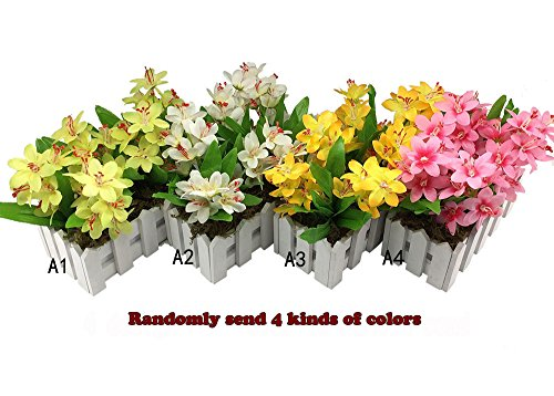 Wire Spray Collar Necklace (Conjugal Bliss 4pc High-grade Narcissus Lily Plastic Artificial Flower For Home Bedroom Party Decoration Wooden Fence Mini Flowers -- Multicolor Random Send Color Models)