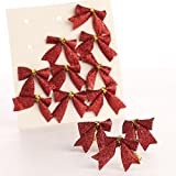 Package of 48 Tiny Red Glittery Plastic Bow Tie Ons for Tree Trim, Package Embellishing and Decorating