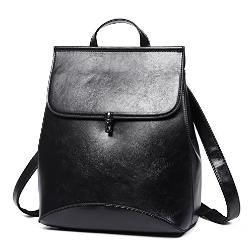 Women Backpack Purse PU Washed Leather Large Capacity Ladies Rucksack Shoulder Bag (Black 5) by CYHTWSDJ