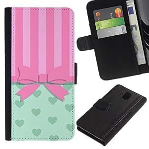 Planetar® Modelo colorido cuero carpeta tirón caso cubierta piel Holster Funda protección Para SAMSUNG Galaxy Note 3 III / N9000 / N9005 ( Arqueamiento Pink Hearts Líneas)
