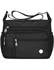 AOLVO impermeable Crossbody Bolsa Para Mujer Con Anti robo bolsillo, tamaño grande Nylon bolsas de hombro Casual Bolso de mano bolsa de viaje mensajero bolso organizar paquete bolsillo con cierre
