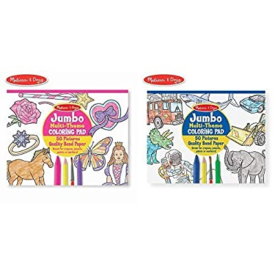 "Melissa & Doug Jumbo 50-Page Kids' Coloring Pad Paper; 11"" x 14"" Oversized Sheets; Horses, Hearts, Flowers, and More Jumbo 50-Page Kids Coloring Pad: Toys & Games"