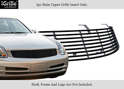 APS Compatible with 2003-2004 Infiniti G35 Sedan Stainless Steel Black Billet Grille N85600J (Infiniti G35 Grill)