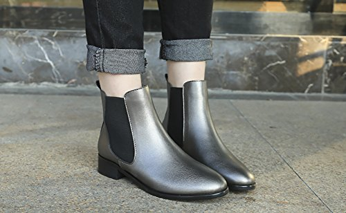Style Heels Boots Retro Martin Boots Grey Low Women's velvet British Shoes QZUnique n4Y8wHq4
