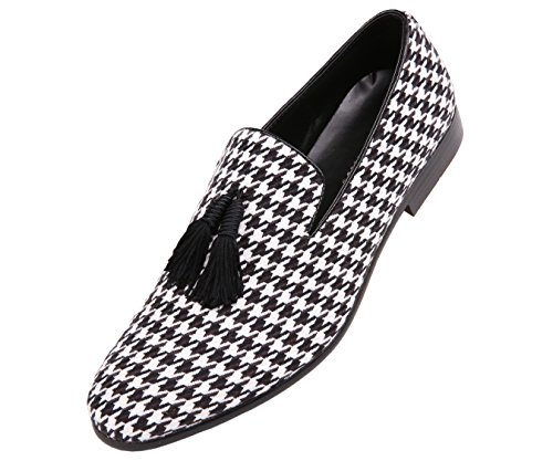 Amali Mens Two Tone Houndstooth Smoking Slipper Dress Shoe with Tassel : Style Orleans - Two Tone Tassel