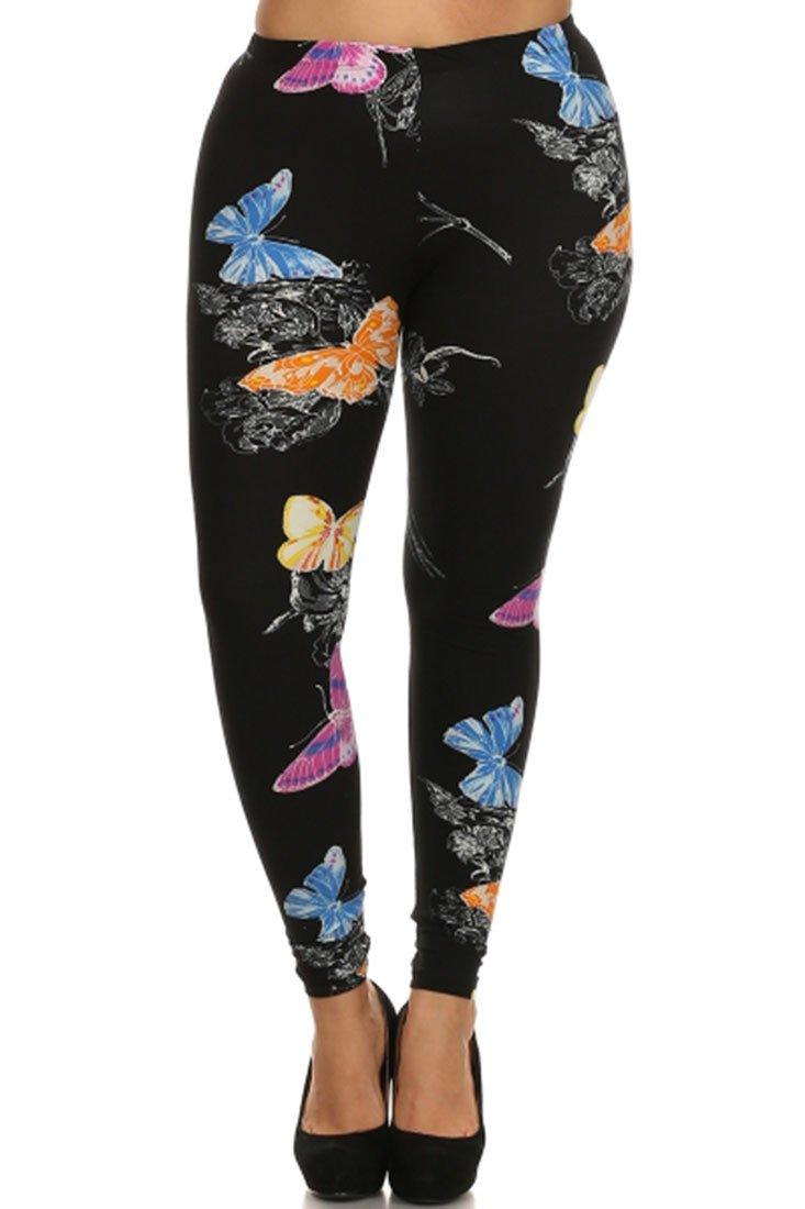 Womens Plus Size Fashion Design Leggings (Vibrant Butterflies)