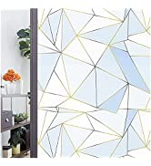 Window Film Privacy Static Clings Simple Geometric Glass Film Frosted Window Stickers for Working...