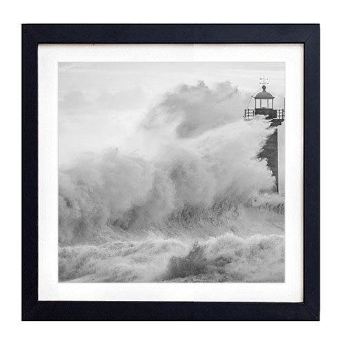 Photo Lighthouse Art (Lighthouse In Storm - Art Print Black Wood Framed Wall Art Picture For Home Decoration - Black and White 18