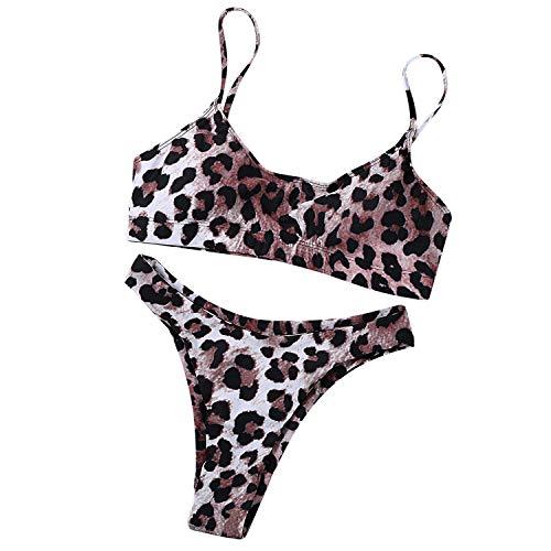 Women's Sexy Leopard Print Two-Piece Triangle Cheeky Bottom Push Up Bikini Set Micro Thong Black (Bikini Leopard Print)