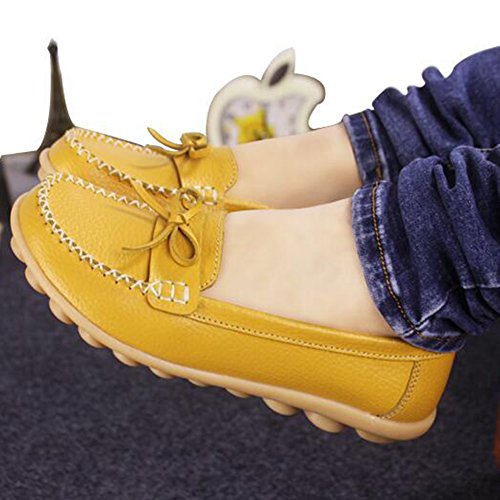 Summerwhisper Donna Dolce Bowknot Slip-on Driving Scarpe Da Barca Appartamenti Mocassini In Pelle Giallo