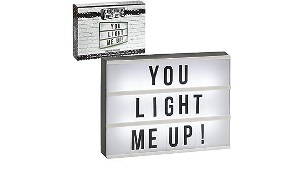 na talla /única Light-up mensaje caja con slide-on letras blanco//negro