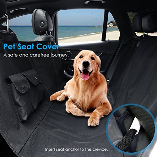 Pet Seat Cover Car Seat Cover for Dogs  - Waterproof & & Hammock Convertible, Scratch Proof, Durable and Washable Pet Seat Covers with Pockets for Cars Trucks and SUVs