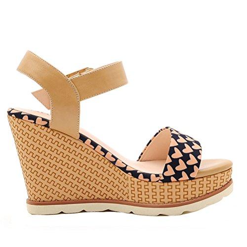 Dunhu Dames Zomer Mode Wedges Schoenen Elegante Open Teen Platform Sandaal (zwart / Groen) Zwart