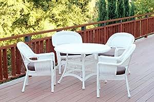 CC Outdoor Living 5Piezas Blanco Resina Mimbre Silla y Mesa Juego de Muebles de Patio Comedor–marrón Cojines