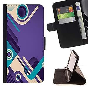 BullDog Case - FOR/Samsung Galaxy S4 Mini i9190 / - / purple teal abstract design shoes loop /- Monedero de cuero de la PU Llevar cubierta de la caja con el ID Credit Card Slots Flip funda de cuer