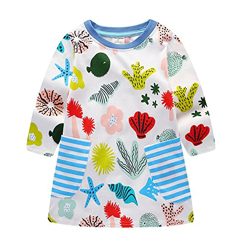 Kids Toddler Baby Girl Colourful Sea World Cartoon Print Long Sleeve Fall Dress,2T/90cm,7#corlorfulseeworld - Fall Print Dress