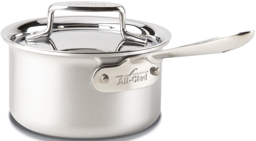 All-Clad BD55201.5 D5 Brushed 18/10 Stainless Steel 5-Ply Bonded Dishwasher Safe Sauce Pan Cookware, 1.5-Quart, Silver