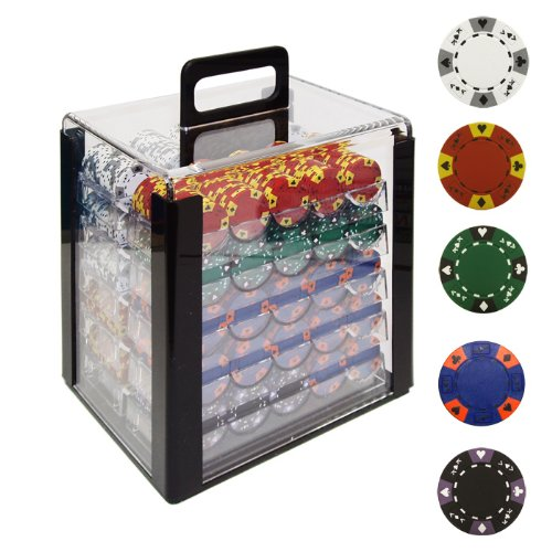 Trademark 1000 14g Tri Color Ace/King Clay Poker Chips with Acrylic Case (Clear) (King Chip Poker 14g Clay)