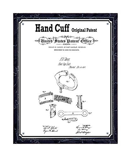 JS Original Handcuff Patent Printed on Metal Plate, Mounted on Black Marble-Finish Wooden Plaque