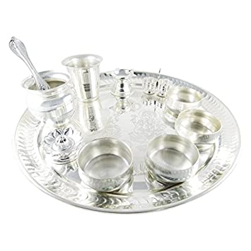 GoldGiftIdeas 12 Inch Premium Silver Plated Pooja Thali Set Pooja Thali Decorative Plate Wedding  sc 1 st  Amazon.com : silver plated pooja set - pezcame.com