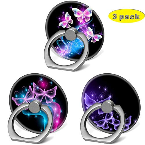 Cell Phone Finger Ring Holder Stand with Car Mount for Smartphone and Tablet,Kickstand 360 Rotation Grip Stand - Galaxy Purple Glitter Pink Butterfly