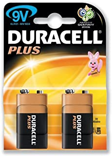 Duracell Plus MN1604 - Paquete de 2 pilas alcalinas (9 V)