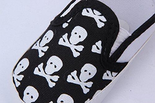 2489385b7cd55 YL Unisexe de bébé Motif tête de mort première Chaussures de marche des  Mocassins. 3 couleurs - Noir - noir