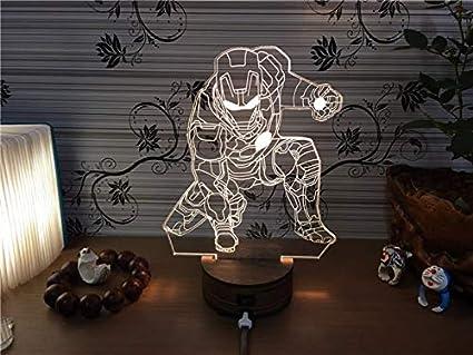 3D Iron Man Lámpara Marvel Mesa/Escritorio Decoración Luces Niños ...