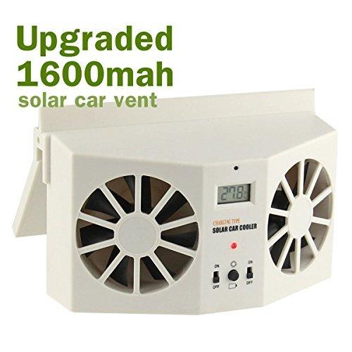 SUGERYY Solar Dual Fan Car Front/Rear Window Air Vent Cool Cooler Fan Windshield Fan