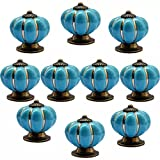 CSKB NEW BLUE 10 PCS 40mm Vintage Style Pumpkin Ceramic Door Knob Cute Handle Pull For Cupboard/Cabinet/Kitchen/Home Door 6 Colors Available