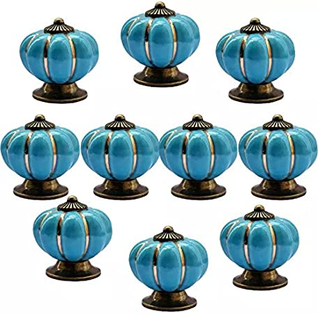 CSKB New Blue 10 PCS 40mm Vintage Style Pumpkin Ceramic Door Knob Cute Handle Pull for Cupboard//Cabinet//Kitchen//Home Door 6 Colors Available
