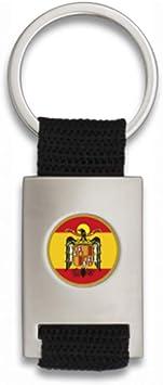 Tiendas LGP Albainox- Llavero con Escudo Aguila de San Juan- Lona Negra y Acero Plateado Mate: Amazon.es: Equipaje