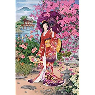 Funnybox Red Kimono Beauty Paintings by Haruyo Morita- Wooden Jigsaw Puzzles 1000 Piece for Teens and Family