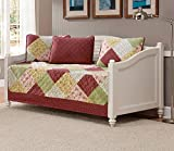 Mk Collection 5pc Daybed Floral Patchwork Off White Burgundy Pink Beige Coverlet Set New 0015001