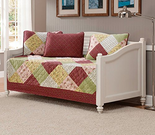 Mk Collection 5pc Daybed Floral Patchwork Off White Burgundy Pink Beige Coverlet Set New 0015001 - Linen Set Daybed