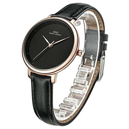 Women Simple Face Watches Leather Band Luxury Quartz Watches Girls Ladies Wristwatch Reloj De Mujer (Black) by IBSO BOERNI AIBISINO (Image #2)