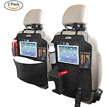 """Oasser Kick Mats Car Backseat Organizer Back of Seat Protector 2 XL with 1 Tissue Box Clear 10"""" Ipad Holder 3 Large Storage Organizers"""