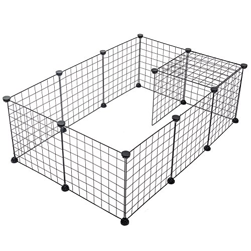 Environmental Enclosure - SUKI&SAMI Small Pet Playpen, Portable Animal Cage Indoor Outdoor, Exercise Pen Yard Fence for Guinea Pig, Rabbits, Black Wire 12 panels