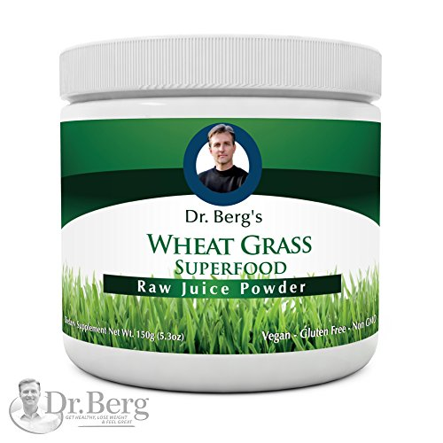Dr. Berg's Wheat Grass Juice Powder - Raw & Ultra-Concentrated Nutrients - Rich in Vitamins, Chlorophyll & Trace Minerals - 60 Servings - Gluten Free - Non-GMO - 5.3 oz (1 Pack)