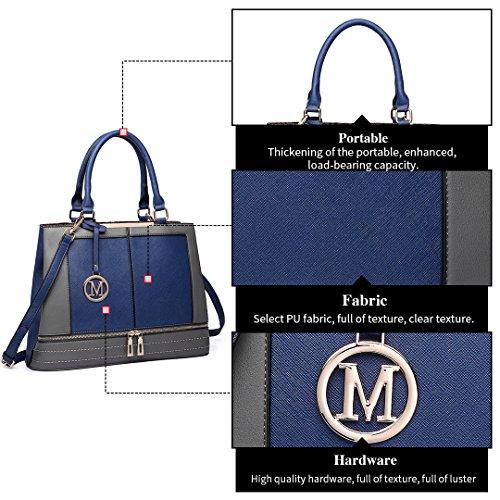 Miss Strap for Handle Navy Lulu Design Women Leather Ladies with Shoulder Casual Tote Handbag Bags Top rwrag4x