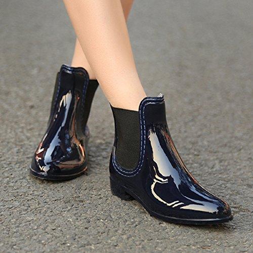 Stivaletti Slip Rosso Short Ellip Impermeabili Da Chelsea Donna Rioneo Fashion Boot On Ankle Nero Rain Blu 8xwTqfa8Wr