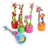 Fancyku Wooden Cute Colorful Giraffe Push Puppets, Swing Dancing Body Giraffe Desktop Toys Cartoon Fingers Toys Home Kids Room Decoration