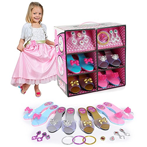 Liberty Imports Princess Dress Up & Play Shoe and Jewelry Boutique (Includes 4 Pairs of Shoes + Fashion Accessories)