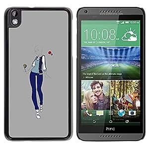 Estilo Moda Mujer Gris Diseño Amor- Metal de aluminio y de plástico duro Caja del teléfono - Negro - HTC DESIRE 816