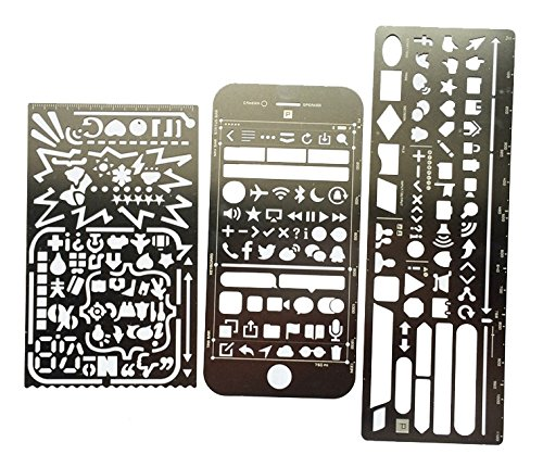 Craft Card Templates (Pack of 3 Stainless Steel Drawing Painting Stencils Template Sets Graphics Stencils for Scrapbooking, Card and Craft Projects)