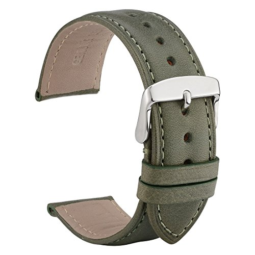 Leather Belt Watch - WOCCI Untextured Leather Watch Strap, 22mm Watch Bands,Replacement Bracelet (Green with Tone on Tone Seam)