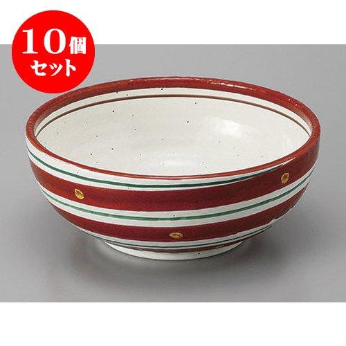 10個セット 組鉢組丼ボール 赤絵二色渦8.0鉢 [24.5 x 7.8cm] 【料亭 旅館 和食器 飲食店 業務用 器 食器】   B01N24DJJZ