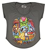 Disney Beauty And The Beast Stained Glass Charcoal Juniors Dolman T-Shirt (Small)
